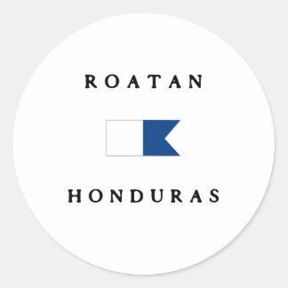 Bandera alfa de la zambullida de Roatan Honduras Pegatina Redonda