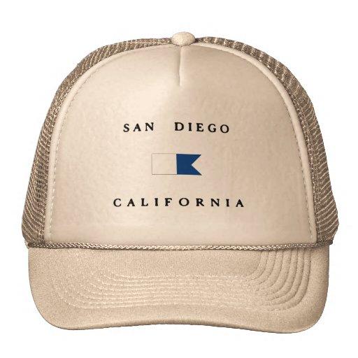 Bandera alfa de la zambullida de San Diego Califor Gorro