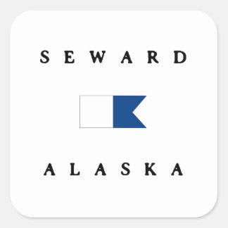 Bandera alfa de la zambullida de Seward Alaska Pegatina Cuadrada