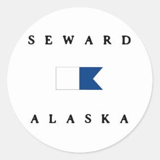 Bandera alfa de la zambullida de Seward Alaska Pegatina Redonda