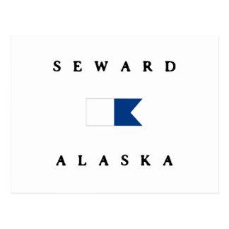 Bandera alfa de la zambullida de Seward Alaska Postales
