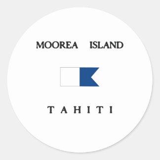 Bandera alfa de la zambullida de Tahití de la isla Etiqueta Redonda