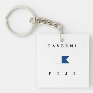 Bandera alfa de la zambullida de Taveuni Fiji Llavero Cuadrado Acrílico A Doble Cara