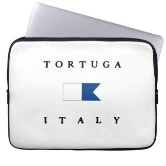 Bandera alfa de la zambullida de Tortuga Italia Funda Computadora