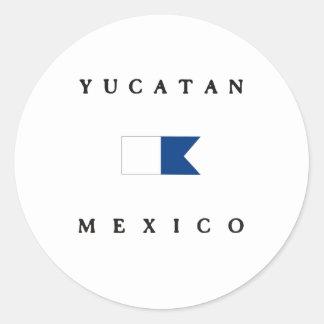 Bandera alfa de la zambullida de Yucatán México Etiquetas Redondas