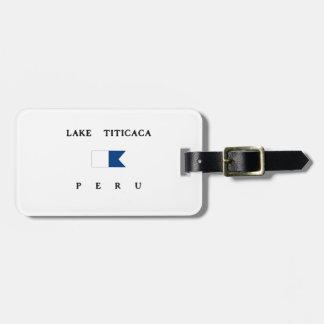 Bandera alfa de la zambullida del lago Titicaca Etiqueta Para Maleta