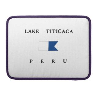 Bandera alfa de la zambullida del lago Titicaca Fundas Macbook Pro