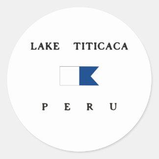Bandera alfa de la zambullida del lago Titicaca Etiqueta Redonda