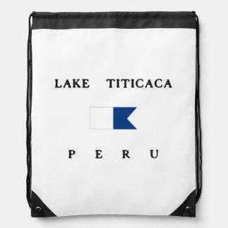 Bandera alfa de la zambullida del lago Titicaca Mochilas