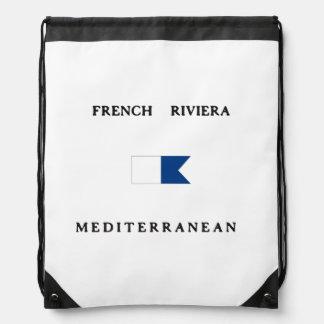 Bandera alfa francesa de la zambullida de riviera mochilas