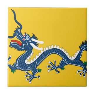 Bandera amarilla imperial del dragón, dinastía de azulejo cuadrado pequeño