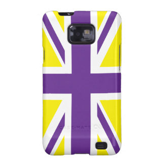 Bandera amarilla púrpura de Union Jack Británicos Galaxy SII Funda
