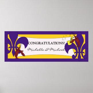 Bandera amarilla púrpura del fiesta de los cangrej posters