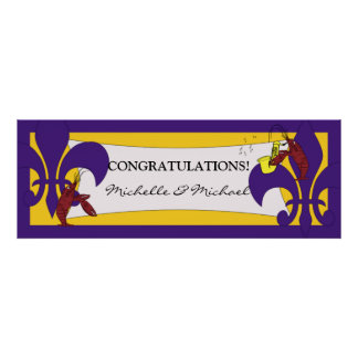Bandera amarilla púrpura del fiesta de los cangrej póster