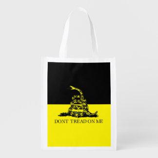 Bandera amarilla y negra de Gadsden Bolsa Para La Compra