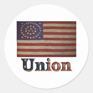 Bandera América de la guerra civil de los E.E.U.U. Pegatina Redonda