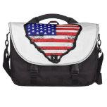 bandera América del corazón del amor Bolsas De Ordenador