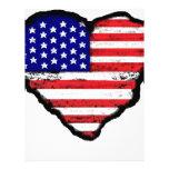 bandera América del corazón del amor Plantilla De Membrete