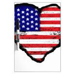 bandera América del corazón del amor Tableros Blancos