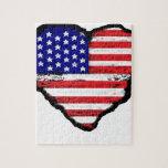 bandera América del corazón del amor Puzzle Con Fotos