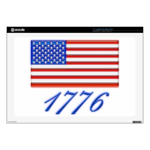 Bandera americana 1776 brillante calcomanía para 43,2cm portátil