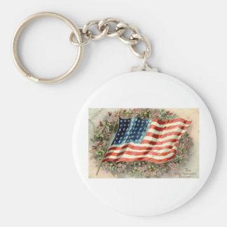Bandera americana 1910 del día de decoración llavero redondo tipo pin