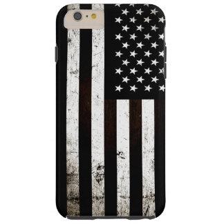 Bandera americana 2 del Grunge negro Funda De iPhone 6 Plus Tough