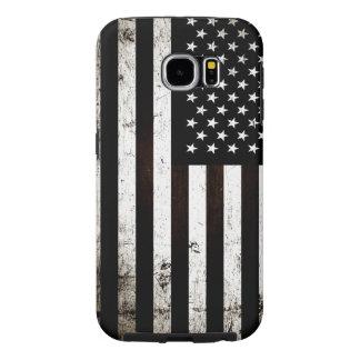 Bandera americana 2 del Grunge negro Fundas Samsung Galaxy S6