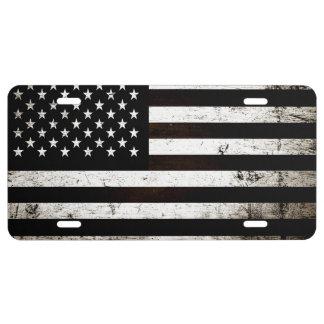 Bandera americana 2 del Grunge negro Placa De Matrícula