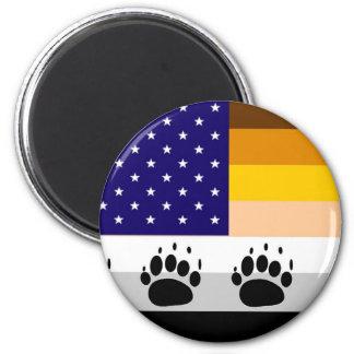 Bandera americana 2 del orgullo del oso imán redondo 5 cm