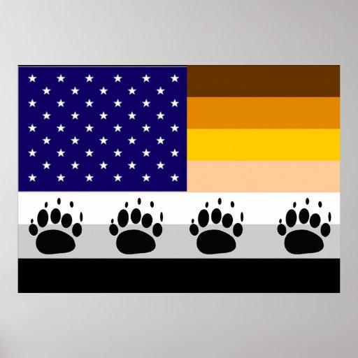 Bandera americana 2 del orgullo del oso póster