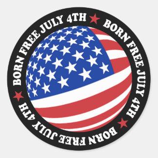 Bandera americana 4 de julio pegatina redonda