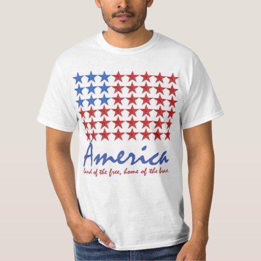 Bandera americana 4ta de la CAMISETA de julio Playera