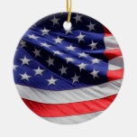 Bandera americana adorno navideño redondo de cerámica