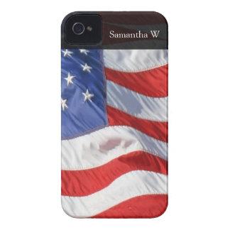 Bandera americana, agitando en viento Case-Mate iPhone 4 cobertura