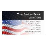 Bandera americana, agitando en viento tarjetas de visita