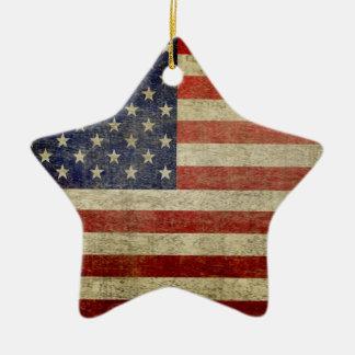 Bandera americana - antigüedad - final de la adorno de cerámica en forma de estrella