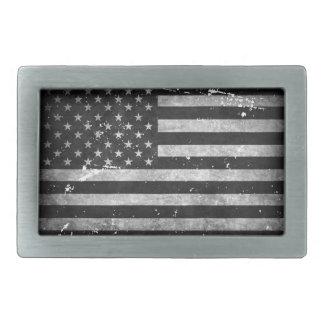 Bandera americana apenada blanco y negro hebillas de cinturon
