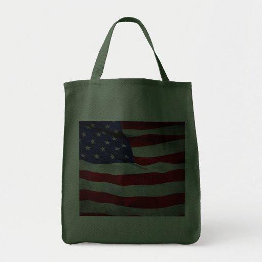 Bandera americana apenada bolsas
