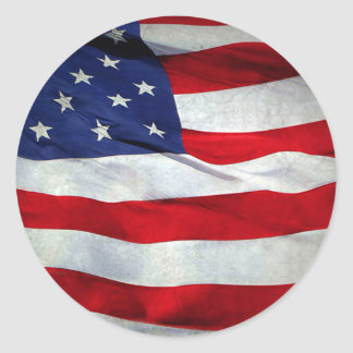 Bandera americana apenada pegatina redonda