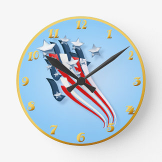 Bandera americana arrebatadora Wallclock Reloj Redondo Mediano