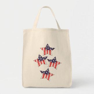 bandera americana, barras y estrellas bolsa tela para la compra