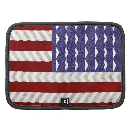 Bandera americana, bigotes divertidos y modelo del organizadores