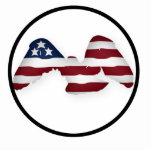 Bandera americana blanca y azul coa alas roja esculturas fotográficas