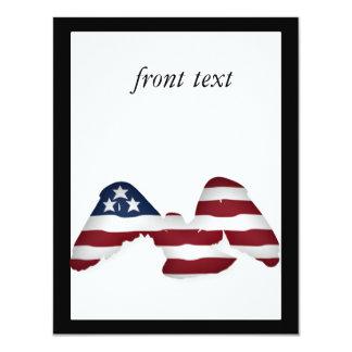 """Bandera americana blanca y azul coa alas roja invitación 4.25"""" x 5.5"""""""