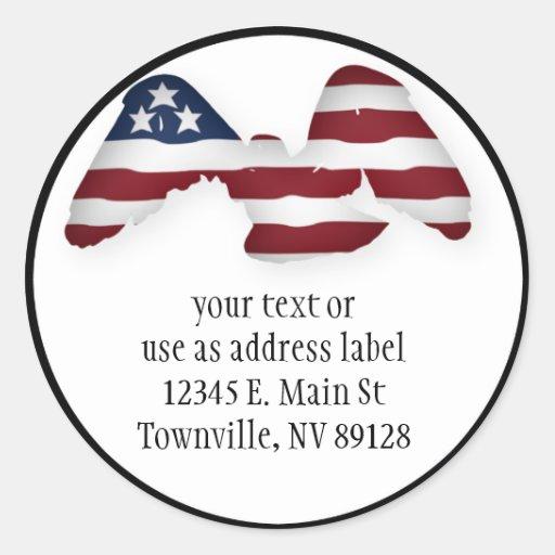 Bandera americana blanca y azul coa alas roja etiquetas redondas