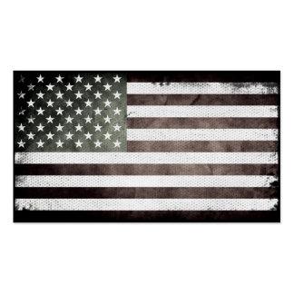 Bandera americana blanco y negro tarjetas de visita