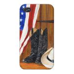 Bandera americana, botas de vaquero y gorra de vaq iPhone 4 coberturas