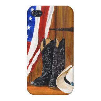 Bandera americana botas de vaquero y gorra de vaq iPhone 4 coberturas