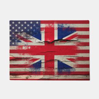 Bandera americana británica de la pintura el | del felpudo